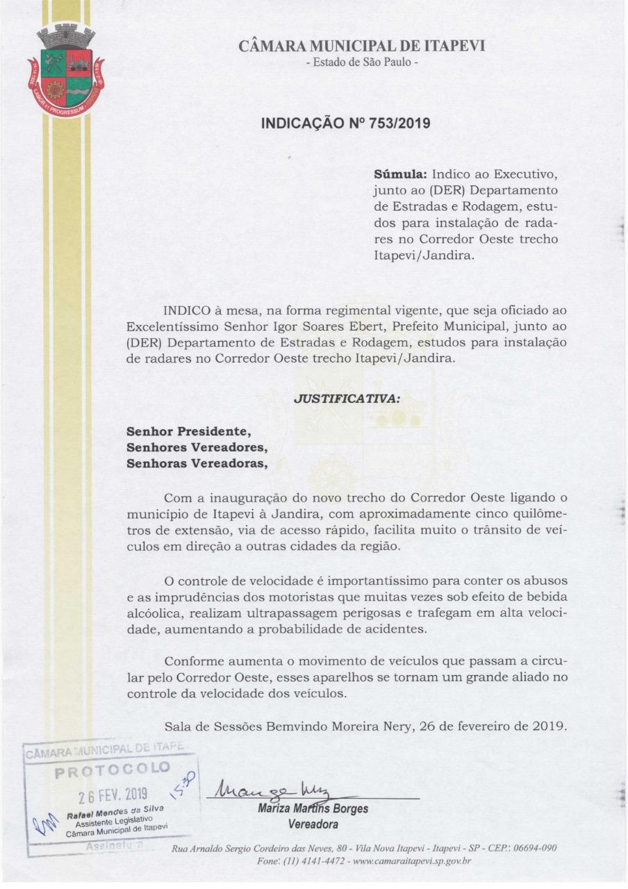 753  VEREADORA MARIZA - INDICAÇÃO Nº 753/2019 753