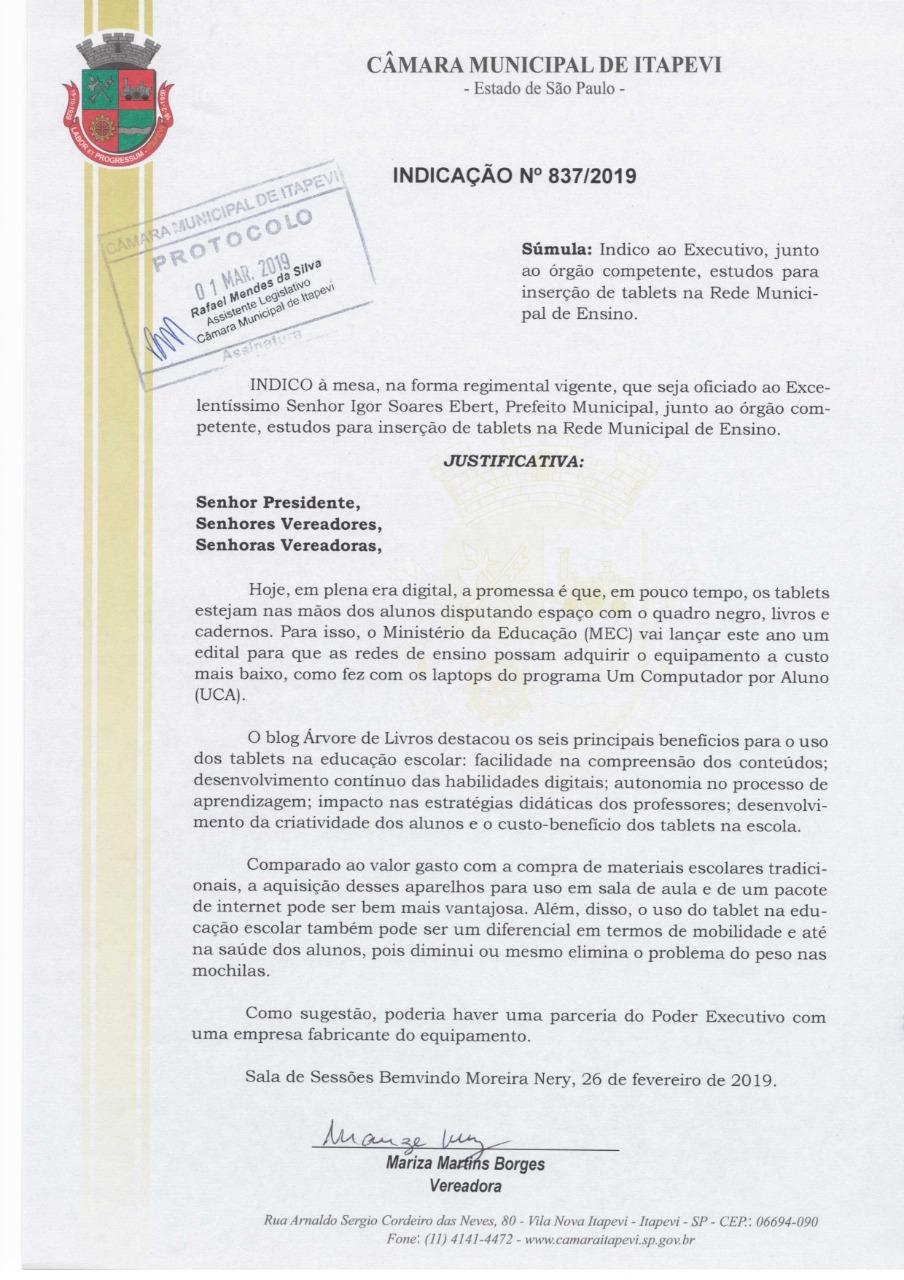 837  VEREADORA MARIZA - INDICAÇÃO Nº 837/2019 837