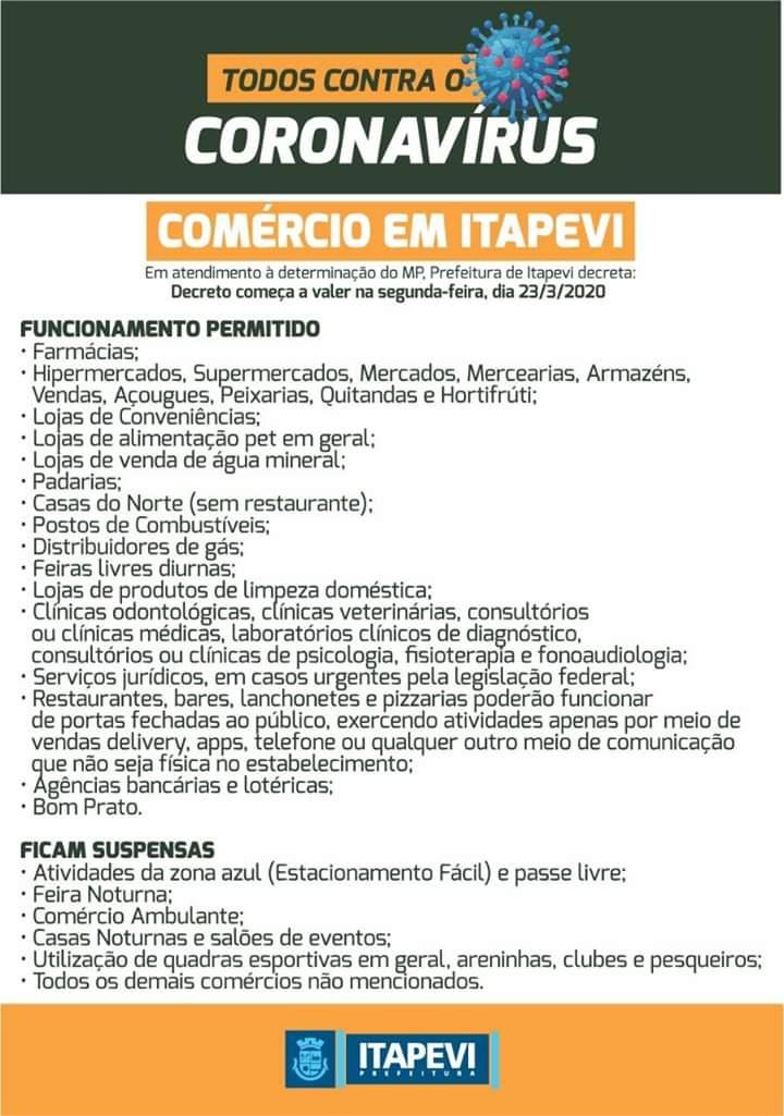 Prefeitura de Itapevi restringe atuação do comércio WhatsApp Image 2020 03 21 at 14