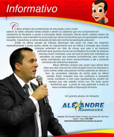 Informativo Vereador Alexandre Rodrigues