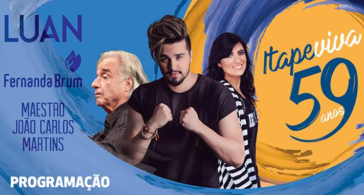 Aniversário de Itapevi terá shows de Luan Santana, Fernanda Brum e Maestro João Carlos Martins