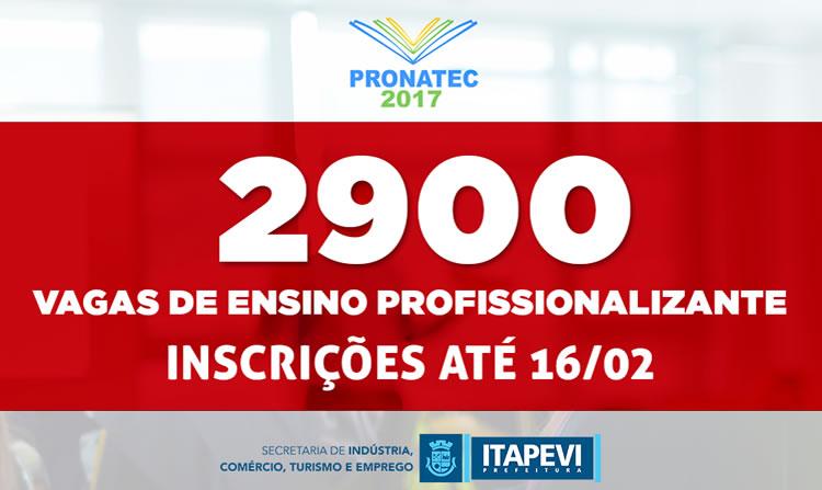 Prefeitura abre inscrições para 2,9 mil novas vagas do Pronatec