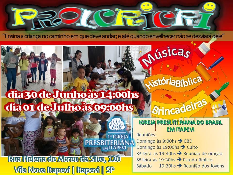"""Projeto Levando a criança a Cristo """"PROLCRICRI"""" será nos dias 30/05 e 01/06"""