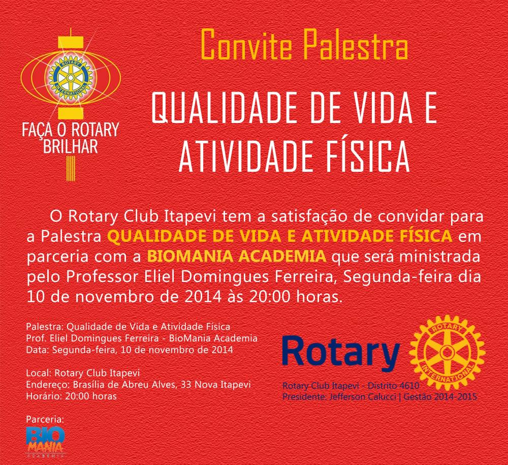 Palestra Qualidade de Vida e Atividade Física dia 10 no Rotary Itapevi