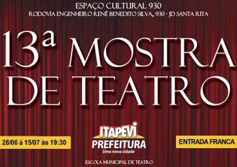 15ª Mostra de Teatro' de Itapevi segue até 07 de julho